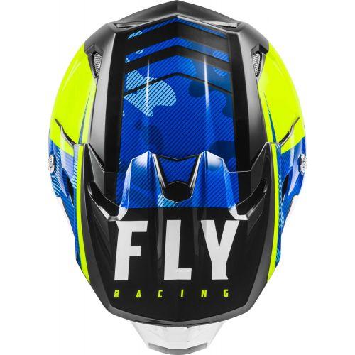 CASQUE FLY TOXIN TRANSFER 2021 BLEU/JAUNE FLUO/BLANC