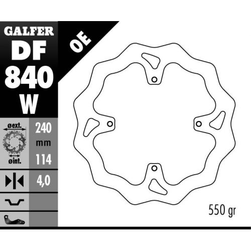 DISQUE ARRIERE GALFER WAVE FIXE 240MM